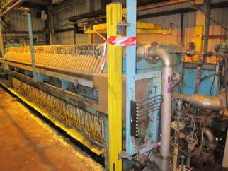 253 m² Johnson Progress filter press with Lenser 1200 mm x 1200 mm polypropylene membrane plates and hydraulic closure.