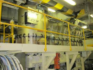 Used approx. Approx 2.7 m² Allgaier Type WS-R-V-T stainless steel continuous vibrating fluid bed dryer system.