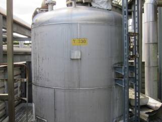 Used ~14000 litre vertical 316Ti stainless steel (1.4571) mixing tank