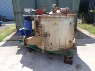 Used Krauss Maffei model VZU125/2,5 316L stainless steel basket centrifuge.
